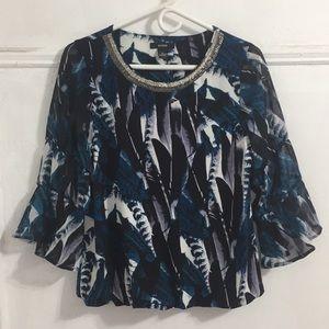 Alfani Multicolored Long Sleeve Dressy Top